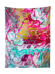 Vertical hanging view of all over print pink, teal & gold paint marbling tapestry by GratefullyDyed Apparel.
