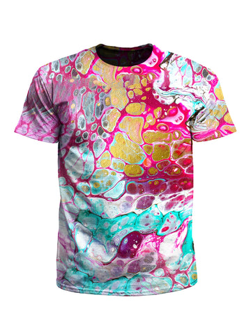 Men's gold, pink & teal marbling unisex t-shirt front view.