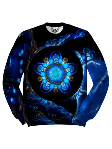 All over print blue & black alien tech mandala unisex sweater by GratefullyDyed Apparel front view.