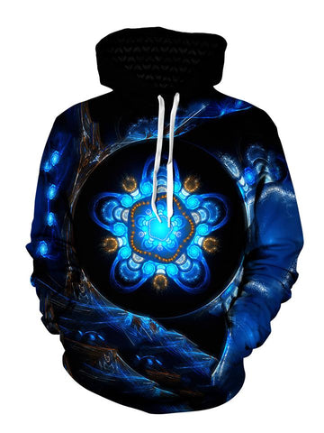 Men's black with blue alien tech mandala pullover hoodie front view.