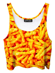 Trippy front view of GratefullyDyed Apparel orange cheetos crop top.