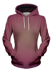 womens front view of pink and yellow fade pattern hoodie