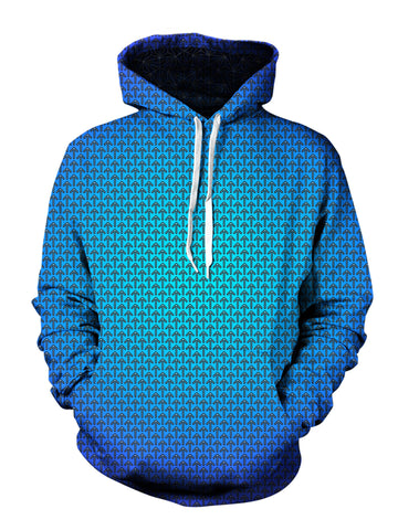 psychedelic blue and green unisex festival hoodie