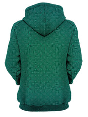 back view of blue and green psychedelic pattern hoodie