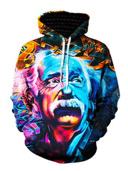 Colorful Albert Einstein Pullover Hoodie Front View