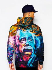 Man In Colorful Albert Einstein Pullover Hoodie Back View