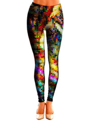Multi Colored Pixel Leggings Front View