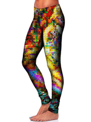 Colorful Pixel Leggings Side View