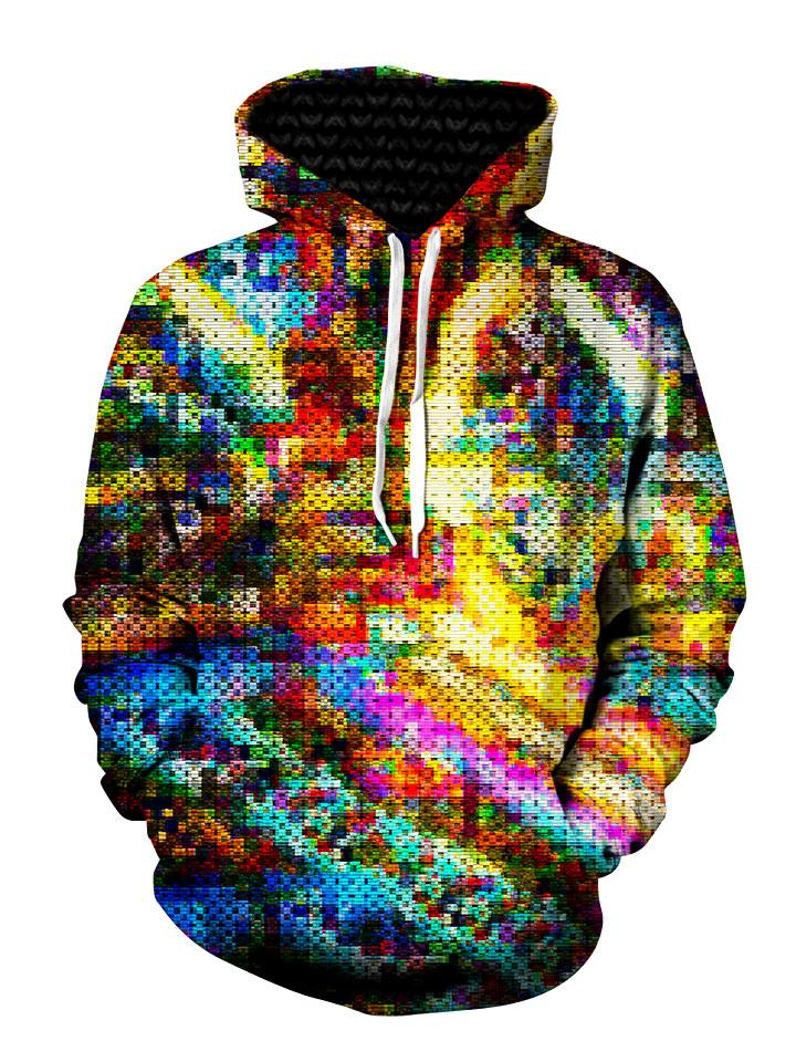 Multi Colored Dotted Pullover Hoodie Front View, With white strings