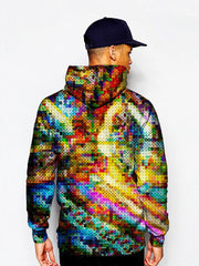Model In Multi Colored Dotted Pullover Hoodie Back View