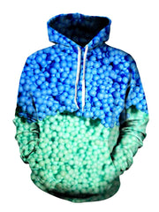 Blue Dippin Dots All Over Print Pullover Hoodie With White Strings, Front View