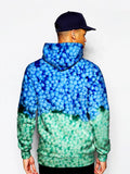 Model In Blue Dippin Dots All Over Print Pullover Hoodie