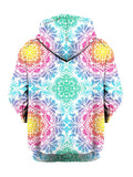 Pastel colored mandala flower print pullover hoodie back view