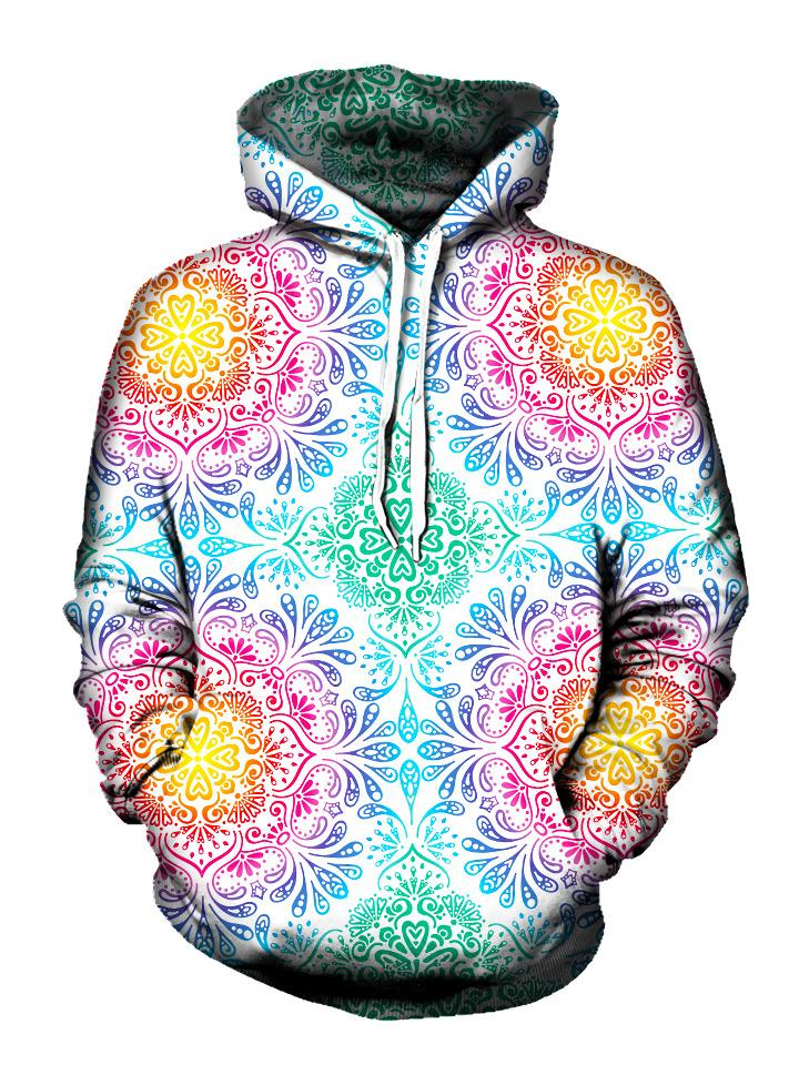 Pastel colored mandala flower print pullover hoodie, front view with white strings