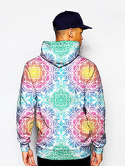 Model in pastel colored mandala flower print pullover hoodie back view