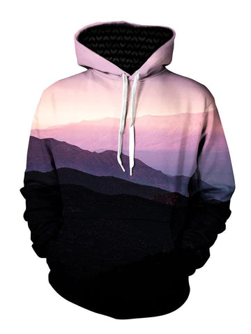 Mountain sunrise landscape all over print pullover hoodie