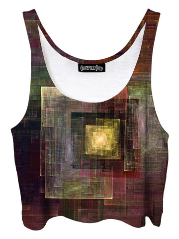 Trippy front view of GratefullyDyed Apparel brown & yellow abstract geometric crop top.
