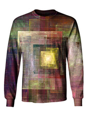 Gratefully Dyed Apparel brown & yellow geometric impressionism unisex long sleeve front view.