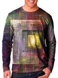 Front view of model wearing Gratefully Dyed Apparel geometric impressionism unisex long sleeve.