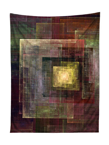Vertical hanging view of all over print yellow & brown geometric abstract tapestry by GratefullyDyed Apparel.