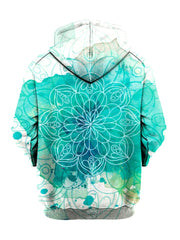 Blue splotches on white pullover hoodie with mandala art back view