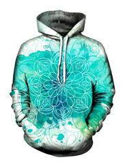 Blue splotches on white pullover hoodie with mandala art