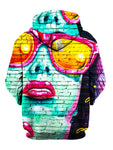 Blue girl urban mural on brick print pullover hoodie back view