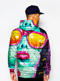 Model in urban mural on brick print pullover hoodie