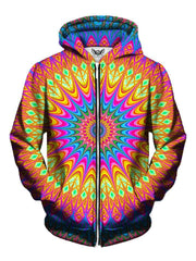 Trippy Bright Colorful Neon Zip Up Hoodie