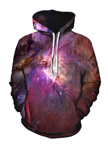 Pink Galaxy Print Pullover Hoodie Front View