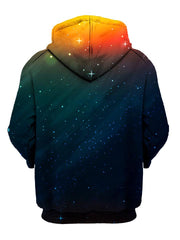 Starry setting sun all over print pullover hoodie back view