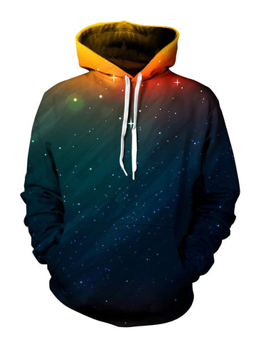 Starry setting sun all over print pullover hoodie with white strings