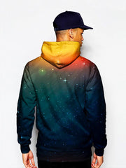 Model in starry setting sun all over print pullover hoodie back view
