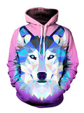 Trippy Pink And Blue Wolf Pullover Hoodie Front View