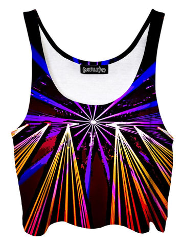 Trippy front view of GratefullyDyed Apparel purple, yellow & black light show mandala crop top.