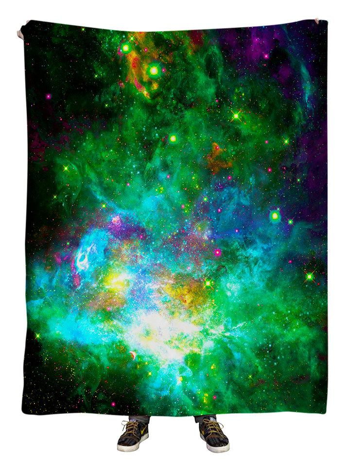 Hanging view of all over print neon green & blue galaxy blanket by GratefullyDyed Apparel.