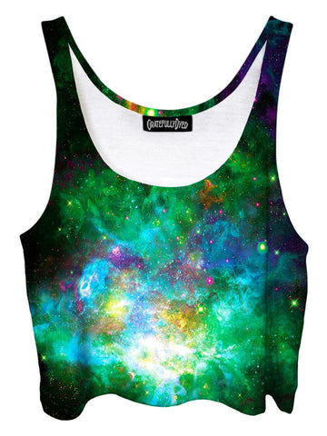 Trippy front view of GratefullyDyed Apparel green, blue & pink galaxy crop top.