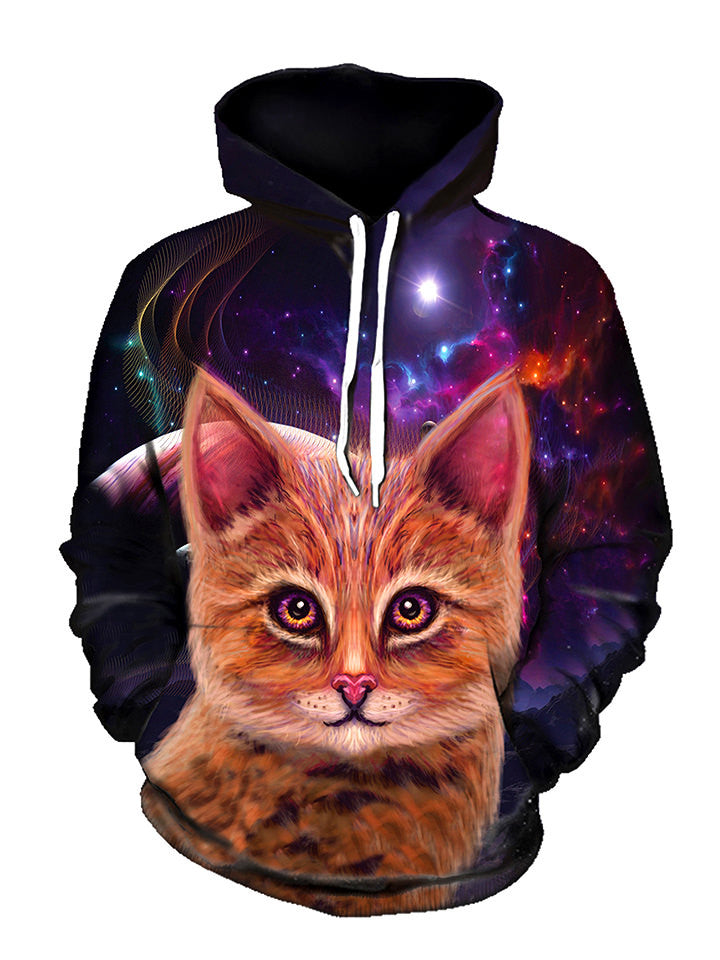 Space Cat Pullover Art Hoodie - GratefullyDyed - 1