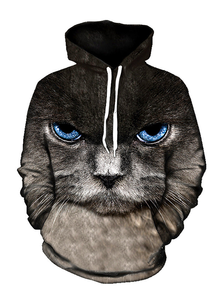 Up close blue cat eyes pullover hoodie with white strings, front view