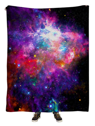 Hanging view of all over print hot pink & rainbow galaxy blanket by GratefullyDyed Apparel.