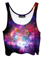 Trippy front view of GratefullyDyed Apparel pink & rainbow nebula galaxy crop top.