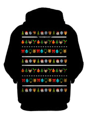Funny Emoji Christmas Pullover Hoodie Back View