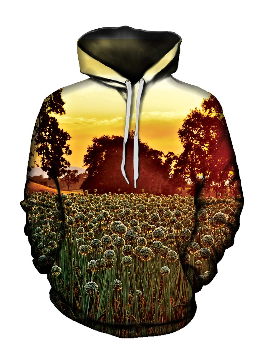 Men's yellow sky with dandelion field pullover hoodie front view.