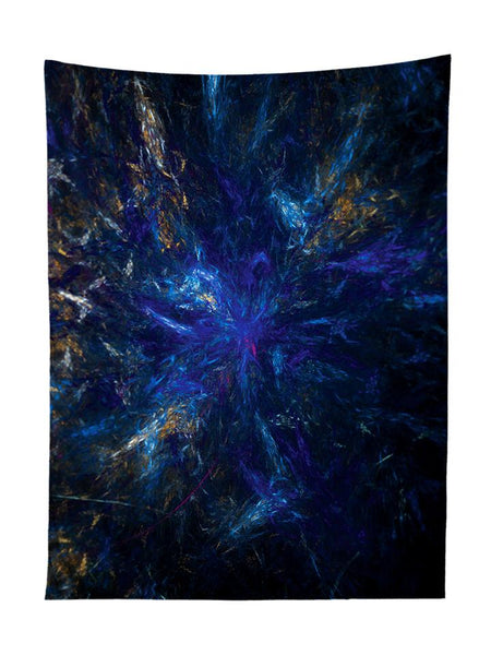 Vertical hanging view of all over print blue & black dark forest galaxy tapestry by GratefullyDyed Apparel.