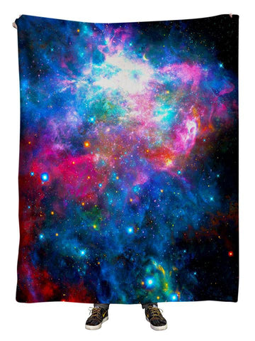 Hanging view of all over print rainbow galaxy blanket by GratefullyDyed Apparel.