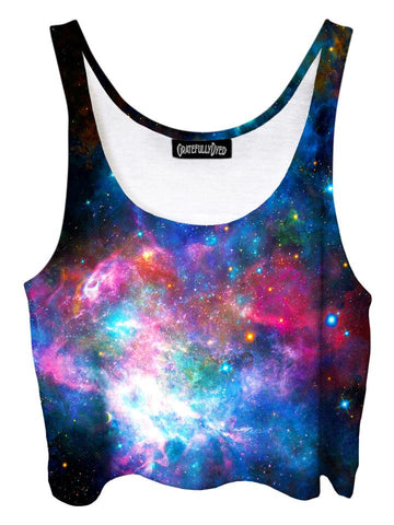 Trippy front view of GratefullyDyed Apparel pink & blue galaxy crop top.