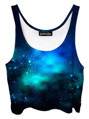 Trippy front view of GratefullyDyed Apparel blue & black galaxy crop top.