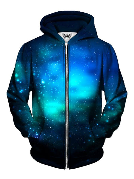 Men's deep blue galaxy zip-up hoodie front view.