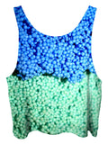 All over print psychedelic ice cream foodie cropped top by Gratefully Dyed Apparel back view.