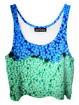 Trippy front view of GratefullyDyed Apparel blue & green dippin dots crop top.